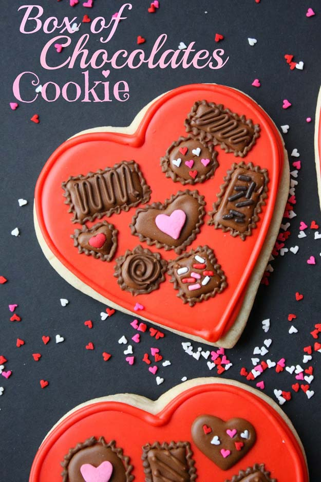Best Valentines Cookies - Box of Chocolates Cookie - Easy Cookie Recipes and Recipe Ideas for Valentines Day - Cute DIY Decorated Cookies for Kids, Homemade Box Cookies and Bouquet Ideas - Sugar Cookie Icing Tutorials With Step by Step Instructions - Quick, Cheap Valentine Gift Ideas for Him and Her http://diyprojectsforteens.com/valentine-cookie-recipes
