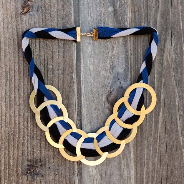 DIY Necklace Ideas - Brass Ring Statement Necklace - Pendant, Beads, Statement, Choker, Layered Boho, Chain and Simple Looks - Creative Jewlery Making Ideas for Women and Teens, Girls - Crafts and Cool Fashion Ideas for Teenagers http://diyprojectsforteens.com/diy-necklaces