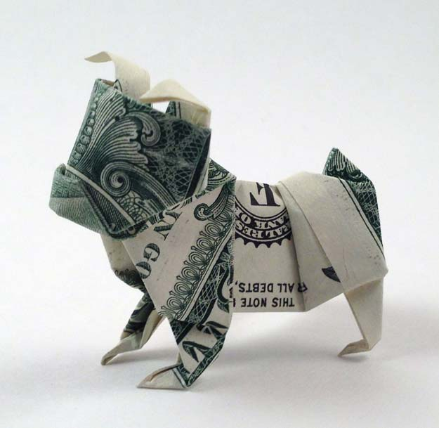DIY Money Origami - Bulldog Money Origami - Step by Step Tutorials for Star, Flower, Heart, Buttlerfly, Animals. Tree, Letters, Bow and Boxes - Cute DIY Gift Ideas for Birthday and Christmas Cards - DIY Projects and Crafts for Teens http://diyprojectsforteens.com/diy-money-origami