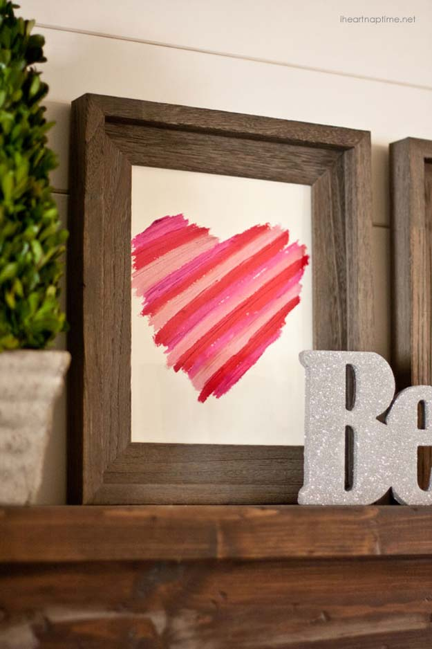 DIY Valentine Decor Ideas - DIY Lipstick Art - Cute and Easy Home Decor Projects for Valentines Day Decorating - Best Homemade Valentine Decorations for Home, Tables and Party, Kids and Outdoor - Romantic Vintage Ideas - Cheap Dollar Store and Dollar Tree Crafts