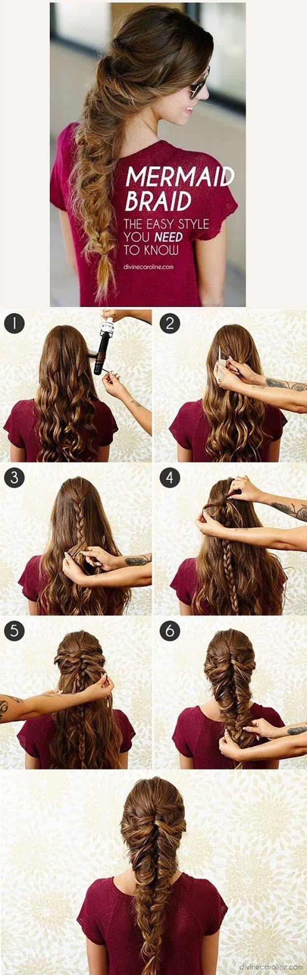 Best Hair Braiding Tutorials - Mermaid Braid - Easy Step by Step Tutorials for Braids - How To Braid Fishtail, French Braids, Flower Crown, Side Braids, Cornrows, Updos - Cool Braided Hairstyles for Girls, Teens and Women - School, Day and Evening, Boho, Casual and Formal Looks #hairstyles #braiding #braidingtutorials #diyhair