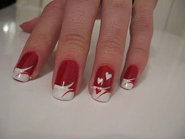 Valentine Nail Art Ideas - French manicure with hearts - Cute and Cool Looks For Valentines Day Nails - Hearts, Gradients, Red, Black and Pink Designs - Easy Ideas for DIY Manicures with Step by Step Tutorials - Fun Ideas for Teens, Teenagers and Women http://diyprojectsforteens.com/valentine-nail-art-ideas