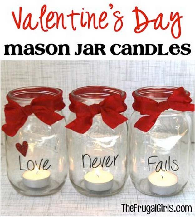 Best Mason Jar Valentine Crafts - Valentine's Day Mason Jar Candles - Cute Mason Jar Valentines Day Gifts and Crafts | Easy DIY Ideas for Valentines Day for Homemade Gift Giving and Room Decor | Creative Home Decor and Craft Projects for Teens, Teenagers, Kids and Adults
