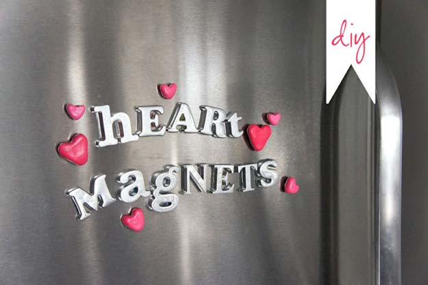 DIY Valentine Gifts - Heart Magnets - Gifts for Her and Him, Teens, Teenagers and Tweens - Mason Jar Ideas, Homemade Cards, Cheap and Easy Gift Ideas for Valentine Presents http://diyprojectsforteens.com/diy-valentine-gifts