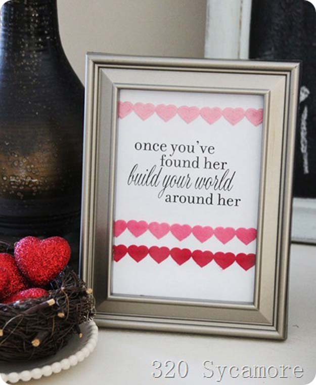 DIY Valentine Decor Ideas - Message in A Frame - Cute and Easy Home Decor Projects for Valentines Day Decorating - Best Homemade Valentine Decorations for Home, Tables and Party, Kids and Outdoor - Romantic Vintage Ideas - Cheap Dollar Store and Dollar Tree Crafts