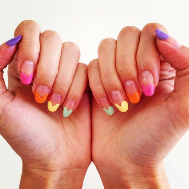 Valentine Nail Art Ideas - Rainbow Heart Nail Art - Cute and Cool Looks For Valentines Day Nails - Hearts, Gradients, Red, Black and Pink Designs - Easy Ideas for DIY Manicures with Step by Step Tutorials - Fun Ideas for Teens, Teenagers and Women http://diyprojectsforteens.com/valentine-nail-art-ideas