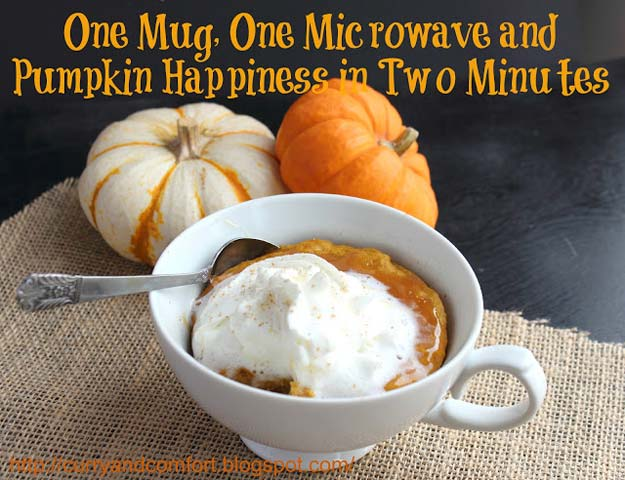 Easy Mug Cake Recipes - 2 Minute Pumpkin Caramel Cake in a Mug - Best Microwave Cakes and Ideas for Baking Ckae in The Microwave - Chocolate, Vanilla, Healthy, Snickerdoodle, Peanut Butter, Bownie and Nutella - Step by Step Tutorials and Instructions - Besy DIY Projects and Recipes for Teens and Teenagers - http://diyprojectsforteens.com/easy-mug-cake-recipes