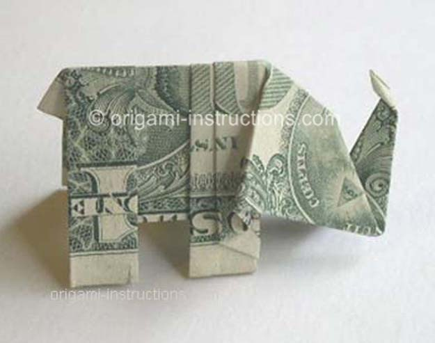 DIY Money Origami - Money Origami Elephant - Step by Step Tutorials for Star, Flower, Heart, Buttlerfly, Animals. Tree, Letters, Bow and Boxes - Cute DIY Gift Ideas for Birthday and Christmas Cards - DIY Projects and Crafts for Teens #teencrafts #origami #moneyorigami