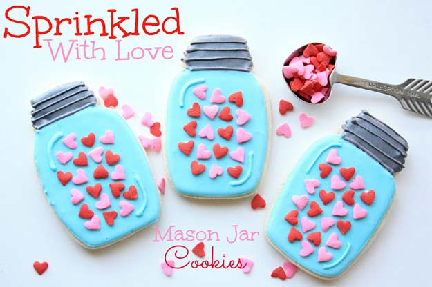 Best Valentines Cookies - Sprinkled With Love~Mason Jar Cookies - Easy Cookie Recipes and Recipe Ideas for Valentines Day - Cute DIY Decorated Cookies for Kids, Homemade Box Cookies and Bouquet Ideas - Sugar Cookie Icing Tutorials With Step by Step Instructions - Quick, Cheap Valentine Gift Ideas for Him and Her http://diyprojectsforteens.com/valentine-cookie-recipes