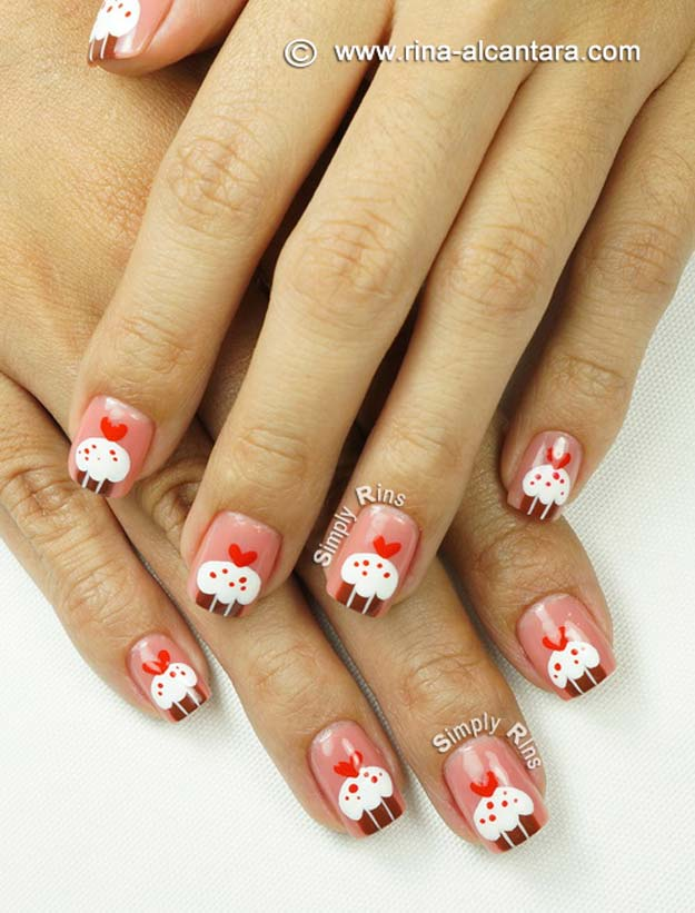 Valentine Nail Art Ideas - Cupcakes for Valentine's - Cute and Cool Looks For Valentines Day Nails - Hearts, Gradients, Red, Black and Pink Designs - Easy Ideas for DIY Manicures with Step by Step Tutorials - Fun Ideas for Teens, Teenagers and Women http://diyprojectsforteens.com/valentine-nail-art-ideas