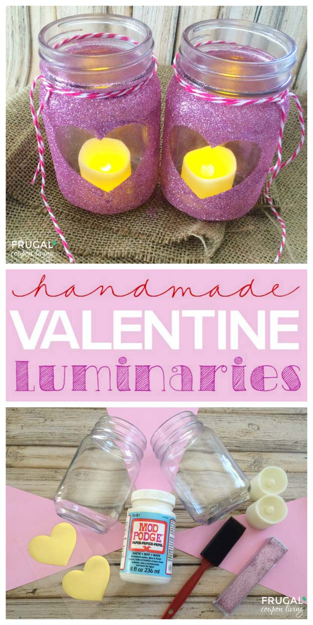 Best Mason Jar Valentine Crafts - Homemade Valentine Luminaries Mason Jar - Cute Mason Jar Valentines Day Gifts and Crafts | Easy DIY Ideas for Valentines Day for Homemade Gift Giving and Room Decor | Creative Home Decor and Craft Projects for Teens, Teenagers, Kids and Adults http://diyprojectsforteens.com/mason-jar-valentine-crafts