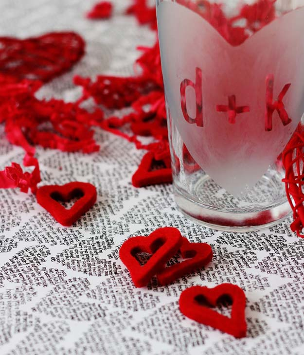 DIY Valentine Gifts - Etched Valentine's Glass - Gifts for Her and Him, Teens, Teenagers and Tweens - Mason Jar Ideas, Homemade Cards, Cheap and Easy Gift Ideas for Valentine Presents
