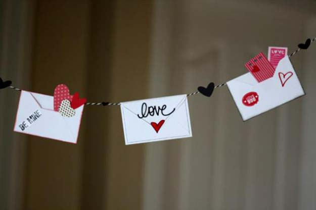 DIY Valentine Decor Ideas - Love Letter Valentine's Day Bunting - Cute and Easy Home Decor Projects for Valentines Day Decorating - Best Homemade Valentine Decorations for Home, Tables and Party, Kids and Outdoor - Romantic Vintage Ideas - Cheap Dollar Store and Dollar Tree Crafts