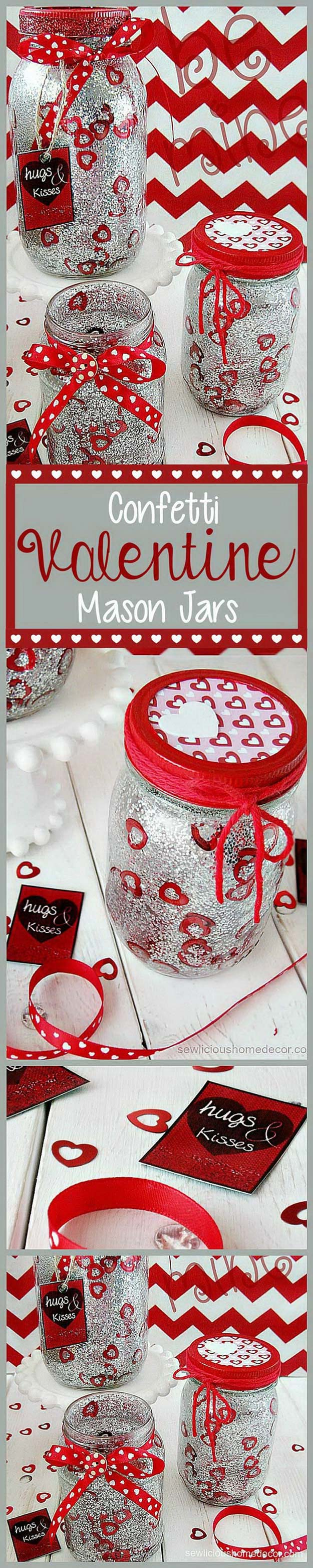 Best Mason Jar Valentine Crafts - Red Valentine Jars with Glitter and Confetti - Cute Mason Jar Valentines Day Gifts and Crafts | Easy DIY Ideas for Valentines Day for Homemade Gift Giving and Room Decor | Creative Home Decor and Craft Projects for Teens, Teenagers, Kids and Adults