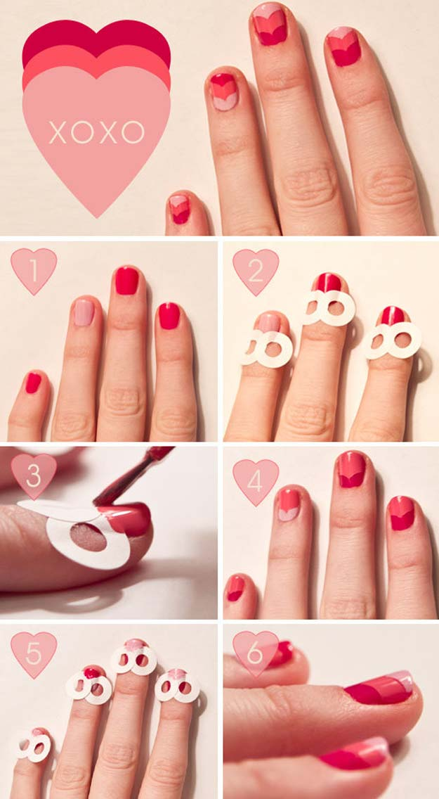 Valentine Nail Art Ideas - Valentine/Chevron/Ombre Nails - Cute and Cool Looks For Valentines Day Nails - Hearts, Gradients, Red, Black and Pink Designs - Easy Ideas for DIY Manicures with Step by Step Tutorials - Fun Ideas for Teens, Teenagers and Women http://diyprojectsforteens.com/valentine-nail-art-ideas