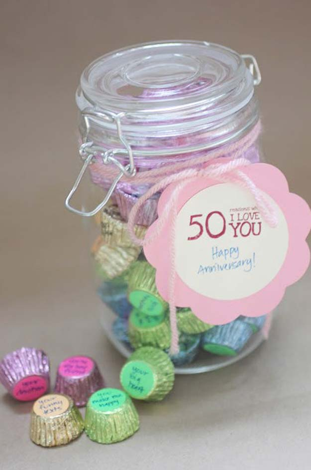 "DIY Valentine Gifts - ""50 Reasons Why I Love You"" Candy Jar Gift - Gifts for Her and Him, Teens, Teenagers and Tweens - Mason Jar Ideas, Homemade Cards, Cheap and Easy Gift Ideas for Valentine Presents http://diyprojectsforteens.com/diy-valentine-gifts"