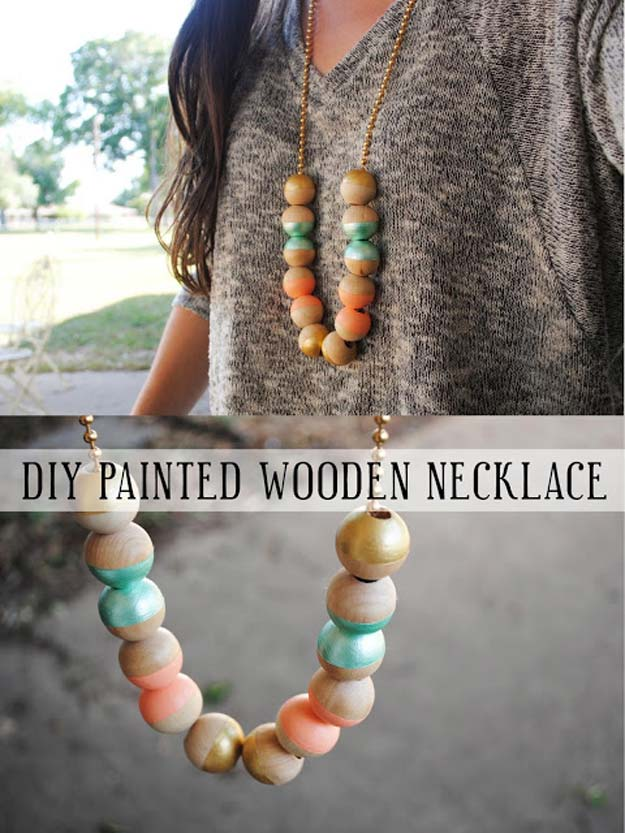 DIY Necklace Ideas - Painted Wooden Necklace - Pendant, Beads, Statement, Choker, Layered Boho, Chain and Simple Looks - Creative Jewlery Making Ideas for Women and Teens, Girls - Crafts and Cool Fashion Ideas for Teenagers