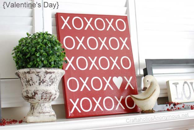 DIY Valentine Decor Ideas - XOXO Canvas Tutorials + Free Printables - Cute and Easy Home Decor Projects for Valentines Day Decorating - Best Homemade Valentine Decorations for Home, Tables and Party, Kids and Outdoor - Romantic Vintage Ideas - Cheap Dollar Store and Dollar Tree Crafts
