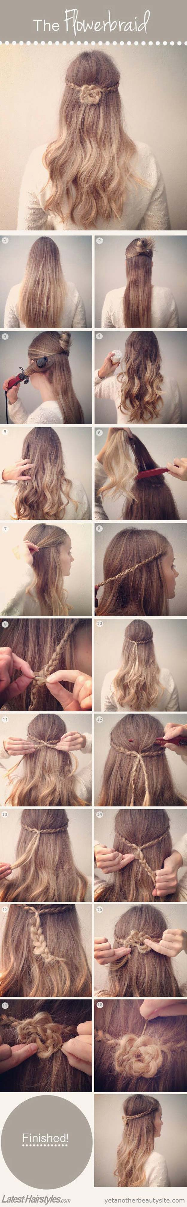 Best Hair Braiding Tutorials - How to Braid Your Hair Into a Pretty Flower - Easy Step by Step Tutorials for Braids - How To Braid Fishtail, French Braids, Flower Crown, Side Braids, Cornrows, Updos - Cool Braided Hairstyles for Girls, Teens and Women - School, Day and Evening, Boho, Casual and Formal Looks #hairstyles #braiding #braidingtutorials #diyhair