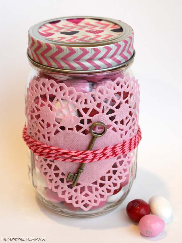 Best Mason Jar Valentine Crafts - Washi Tape, Heart Shaped Doilies, and a Key Decorated Valentines Mason Jar - Cute Mason Jar Valentines Day Gifts and Crafts | Easy DIY Ideas for Valentines Day for Homemade Gift Giving and Room Decor | Creative Home Decor and Craft Projects for Teens, Teenagers, Kids and Adults http://diyprojectsforteens.com/mason-jar-valentine-crafts
