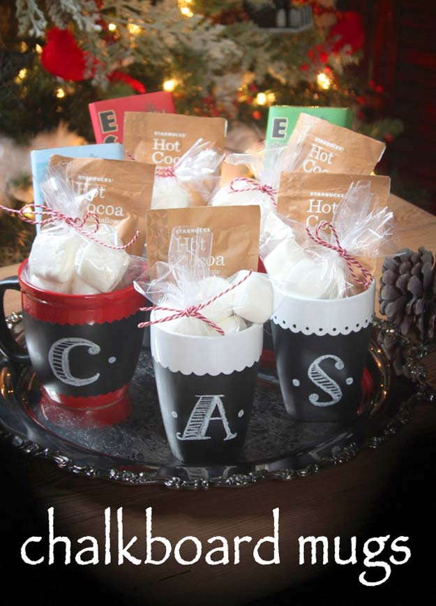 DIY Valentine Gifts - Chalkboard Painted Mugs - Gifts for Her and Him, Teens, Teenagers and Tweens - Mason Jar Ideas, Homemade Cards, Cheap and Easy Gift Ideas for Valentine Presents http://diyprojectsforteens.com/diy-valentine-gifts