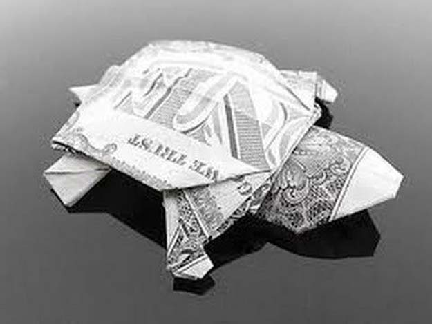 DIY Money Origami - Dollar Bill Turtle - Step by Step Tutorials for Star, Flower, Heart, Buttlerfly, Animals. Tree, Letters, Bow and Boxes - Cute DIY Gift Ideas for Birthday and Christmas Cards - DIY Projects and Crafts for Teens #teencrafts #origami #moneyorigami