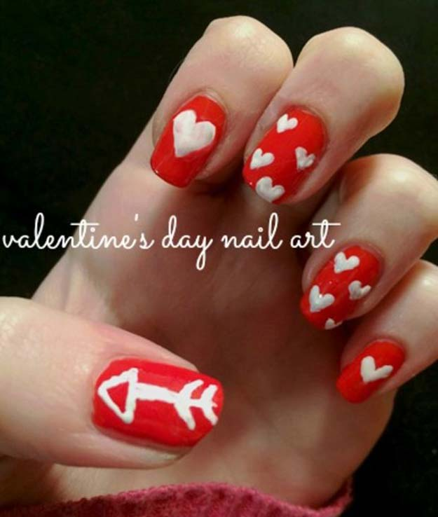 Valentine Nail Art Ideas - Easy Valentine's Day Nails - Cute and Cool Looks For Valentines Day Nails - Hearts, Gradients, Red, Black and Pink Designs - Easy Ideas for DIY Manicures with Step by Step Tutorials - Fun Ideas for Teens, Teenagers and Women http://diyprojectsforteens.com/valentine-nail-art-ideas