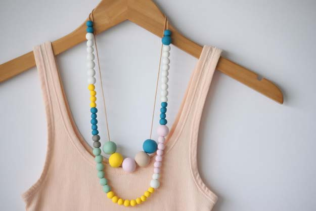 DIY Necklace Ideas - Polymer Clay Bead Necklace - Pendant, Beads, Statement, Choker, Layered Boho, Chain and Simple Looks - Creative Jewlery Making Ideas for Women and Teens, Girls - Crafts and Cool Fashion Ideas for Teenagers http://diyprojectsforteens.com/diy-necklaces