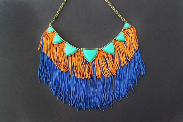 DIY Necklace Ideas - Fringe Statement Necklace - Pendant, Beads, Statement, Choker, Layered Boho, Chain and Simple Looks - Creative Jewlery Making Ideas for Women and Teens, Girls - Crafts and Cool Fashion Ideas for Teenagers
