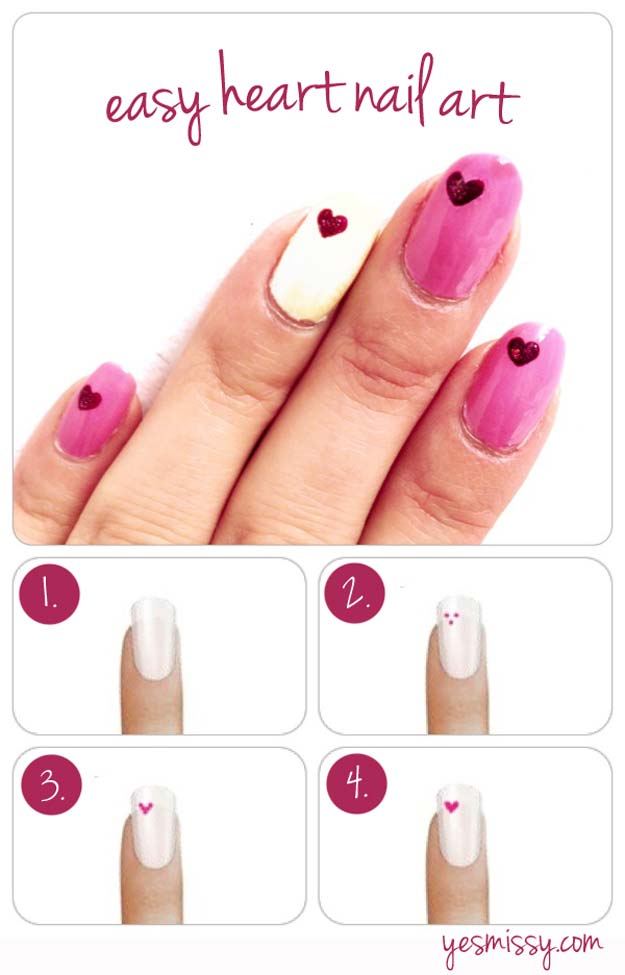 Valentine Nail Art Ideas - How to Create Heart Nail Designs - Cute and Cool Looks For Valentines Day Nails - Hearts, Gradients, Red, Black and Pink Designs - Easy Ideas for DIY Manicures with Step by Step Tutorials - Fun Ideas for Teens, Teenagers and Women http://diyprojectsforteens.com/valentine-nail-art-ideas