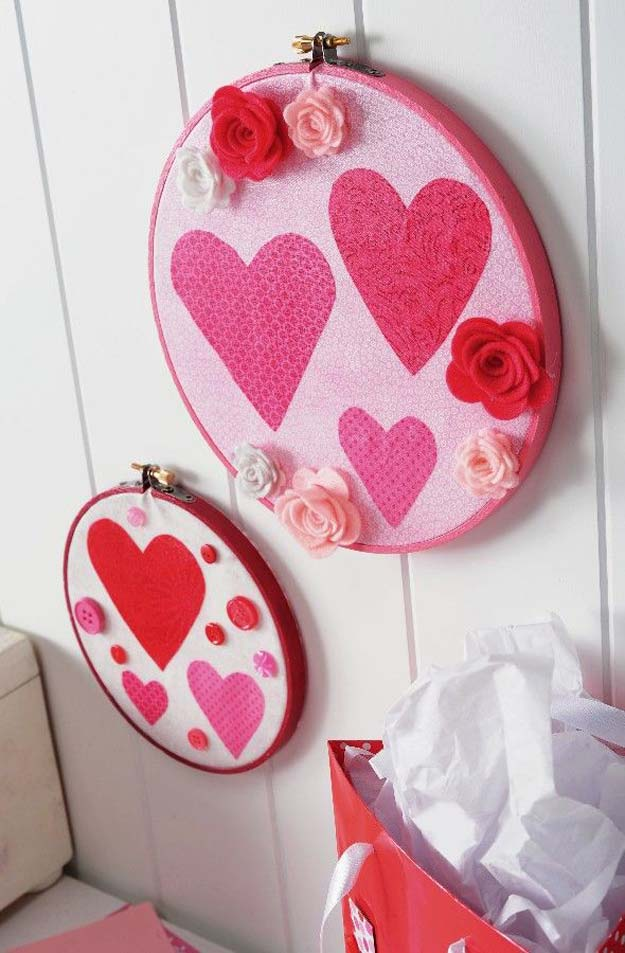 DIY Valentine Decor Ideas - Valentine's Day Embroidery Hoops–w/ Mod Podge Rocks - Cute and Easy Home Decor Projects for Valentines Day Decorating - Best Homemade Valentine Decorations for Home, Tables and Party, Kids and Outdoor - Romantic Vintage Ideas - Cheap Dollar Store and Dollar Tree Crafts
