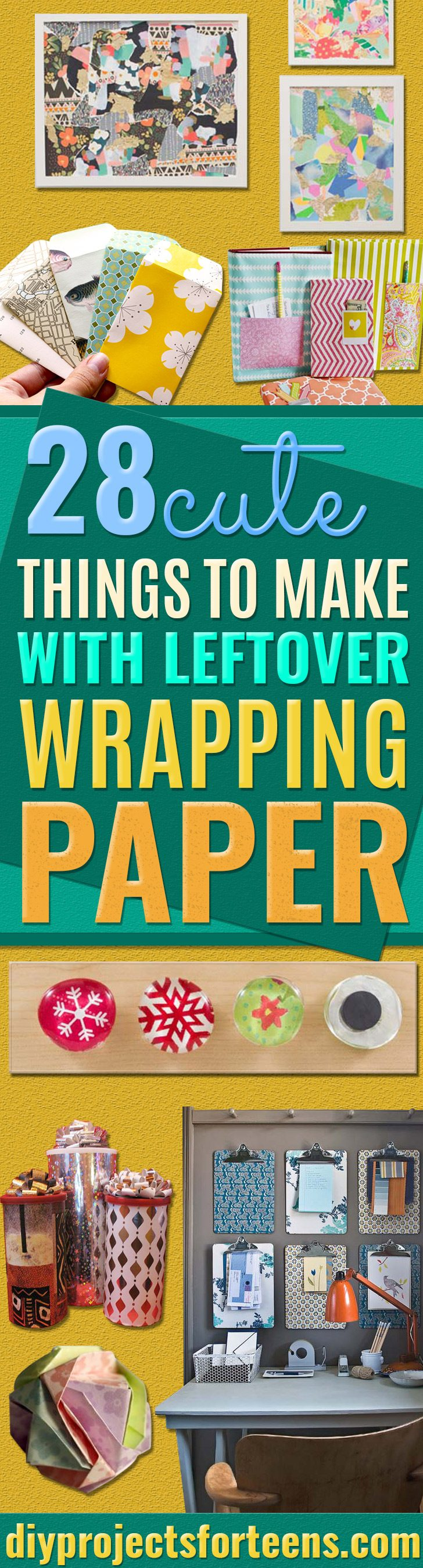 Cool Things to Make With Leftover Wrapping Paper - Easy Crafts, Fun DIY Projects, Gifts and DIY Home Decor Ideas - Don't Trash The Christmas Wrapping Paper and Learn How To Make These Awesome Ideas Instead - Creative Craft Ideas for Teens, Tweens, Teenagers, Boys and Girls