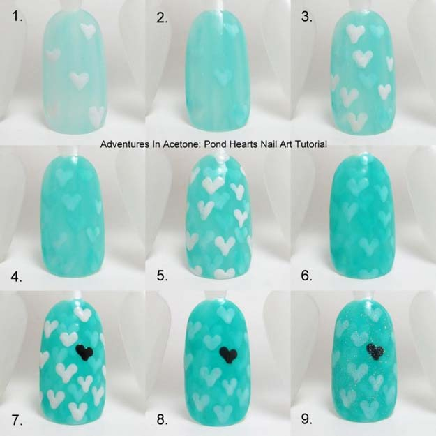 Valentine Nail Art Ideas - Pond Hearts Nail Art - Cute and Cool Looks For Valentines Day Nails - Hearts, Gradients, Red, Black and Pink Designs - Easy Ideas for DIY Manicures with Step by Step Tutorials - Fun Ideas for Teens, Teenagers and Women http://diyprojectsforteens.com/valentine-nail-art-ideas