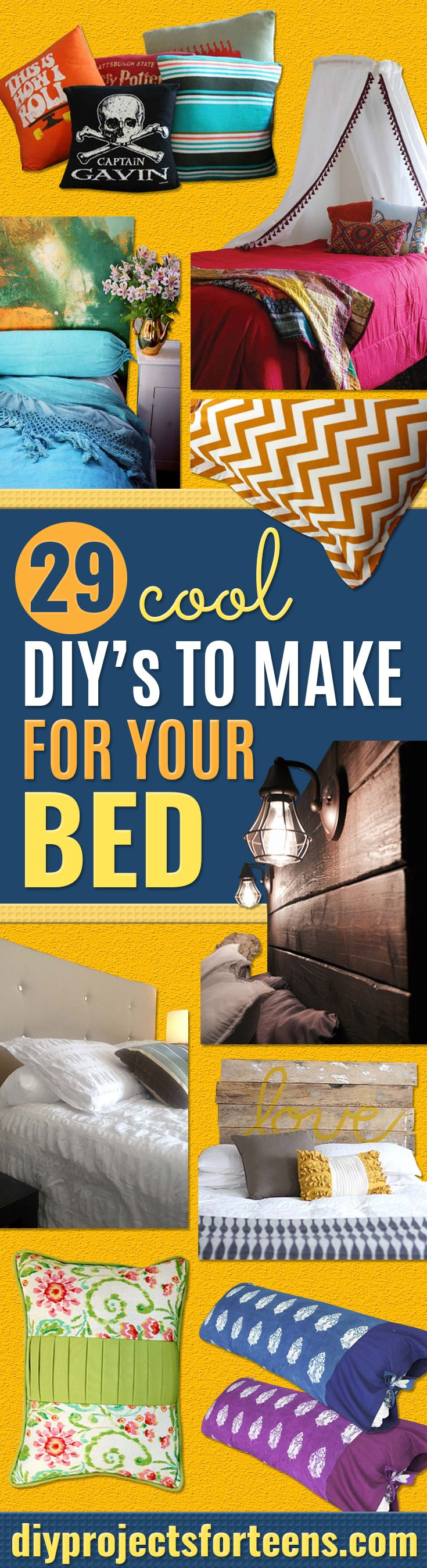 Cool DIY Ideas for Your Bed - Fun No Sew Bedding, Pillows, Blankets, Sewing Projects for Home Decor and Crafts to Make Your Bedroom Awesome - Easy Step by Step Tutorials for Making A T-Shirt Pillow, Knit Throws, Fuzzy and Furry Warm Blankets and Handmade DYI Bedding, Sheets, Bedskirts and Shams