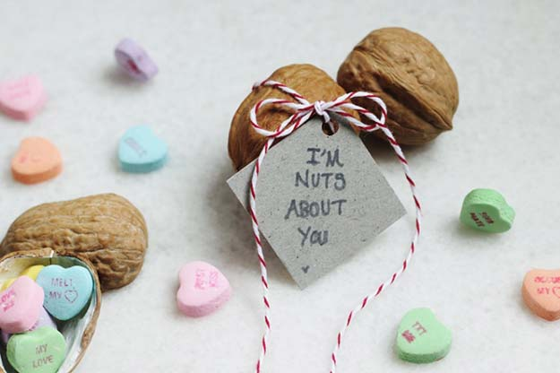 "DIY Valentine Gifts - ""I'm Nuts About You"" Walnut Valentine - Gifts for Her and Him, Teens, Teenagers and Tweens - Mason Jar Ideas, Homemade Cards, Cheap and Easy Gift Ideas for Valentine Presents http://diyprojectsforteens.com/diy-valentine-gifts"