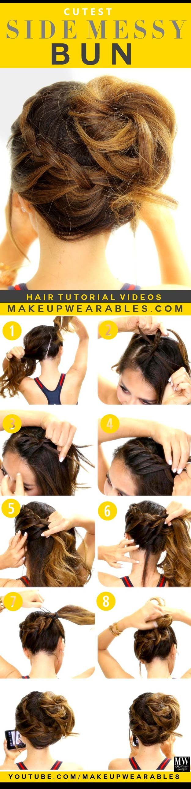 Best Hair Braiding Tutorials - Siden Messy Bun - Easy Step by Step Tutorials for Braids - How To Braid Fishtail, French Braids, Flower Crown, Side Braids, Cornrows, Updos - Cool Braided Hairstyles for Girls, Teens and Women - School, Day and Evening, Boho, Casual and Formal Looks #hairstyles #braiding #braidingtutorials #diyhair