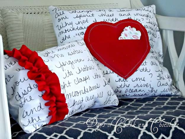DIY Valentine Decor Ideas - Love Note Pillows and A Question - Cute and Easy Home Decor Projects for Valentines Day Decorating - Best Homemade Valentine Decorations for Home, Tables and Party, Kids and Outdoor - Romantic Vintage Ideas - Cheap Dollar Store and Dollar Tree Crafts