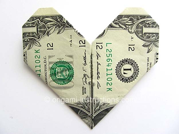 DIY Money Origami - Money Origami Heart - Step by Step Tutorials for Star, Flower, Heart, Buttlerfly, Animals. Tree, Letters, Bow and Boxes - Cute DIY Gift Ideas for Birthday and Christmas Cards - DIY Projects and Crafts for Teens http://diyprojectsforteens.com/diy-money-origami
