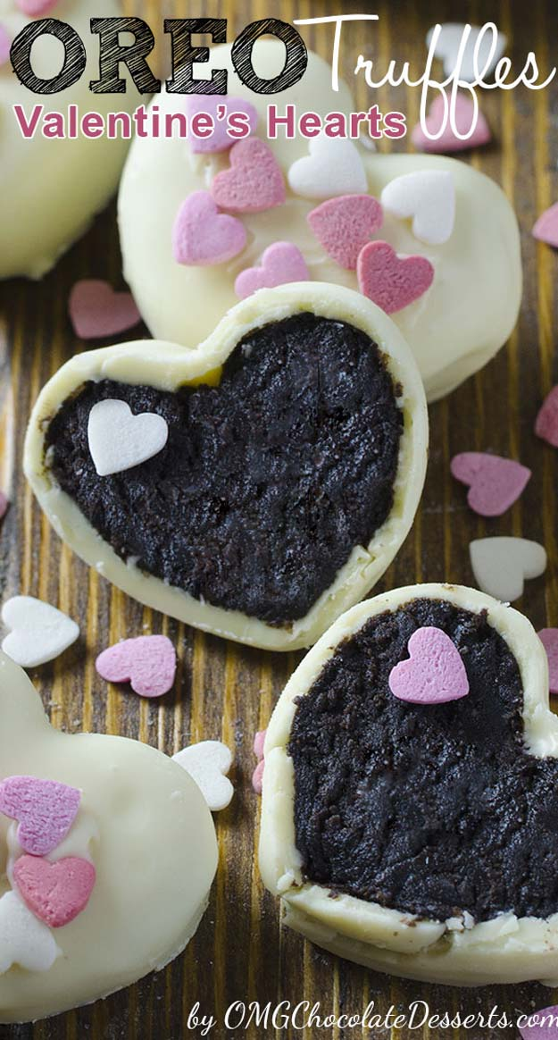 Best Valentines Cookies - Oreo Truffles Valentine's Hearts - Easy Cookie Recipes and Recipe Ideas for Valentines Day - Cute DIY Decorated Cookies for Kids, Homemade Box Cookies and Bouquet Ideas - Sugar Cookie Icing Tutorials With Step by Step Instructions - Quick, Cheap Valentine Gift Ideas for Him and Her http://diyprojectsforteens.com/valentine-cookie-recipes