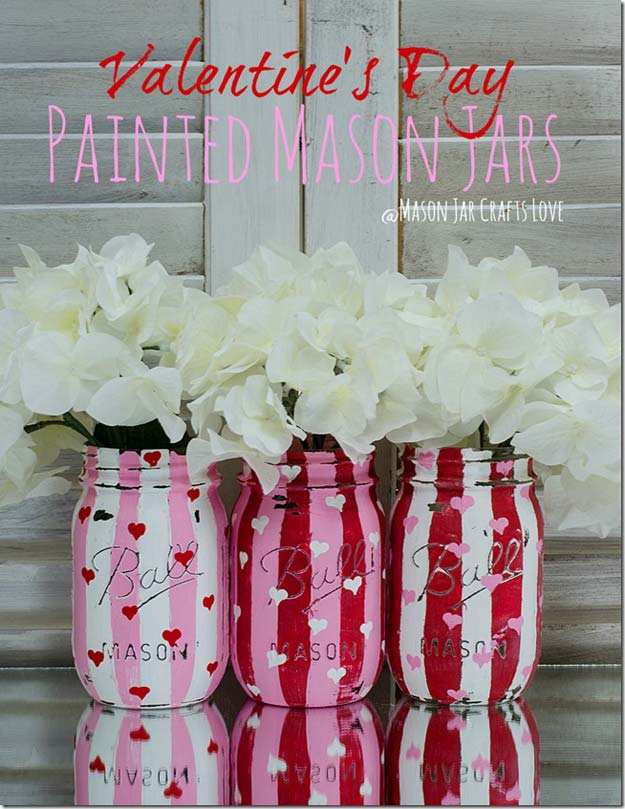 Best Mason Jar Valentine Crafts - Valentine Heart Jars - Cute Mason Jar Valentines Day Gifts and Crafts | Easy DIY Ideas for Valentines Day for Homemade Gift Giving and Room Decor | Creative Home Decor and Craft Projects for Teens, Teenagers, Kids and Adults http://diyprojectsforteens.com/mason-jar-valentine-crafts