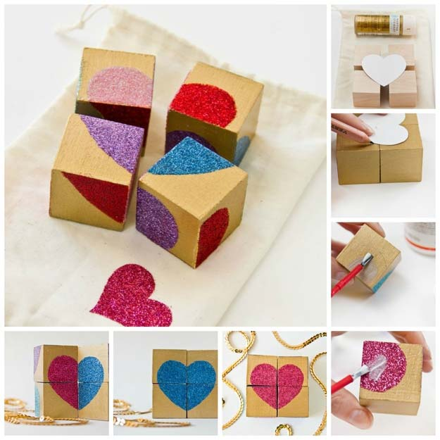DIY Valentine Gifts - Glittery Block Puzzle Valentine - Gifts for Her and Him, Teens, Teenagers and Tweens - Mason Jar Ideas, Homemade Cards, Cheap and Easy Gift Ideas for Valentine Presents http://diyprojectsforteens.com/diy-valentine-gifts