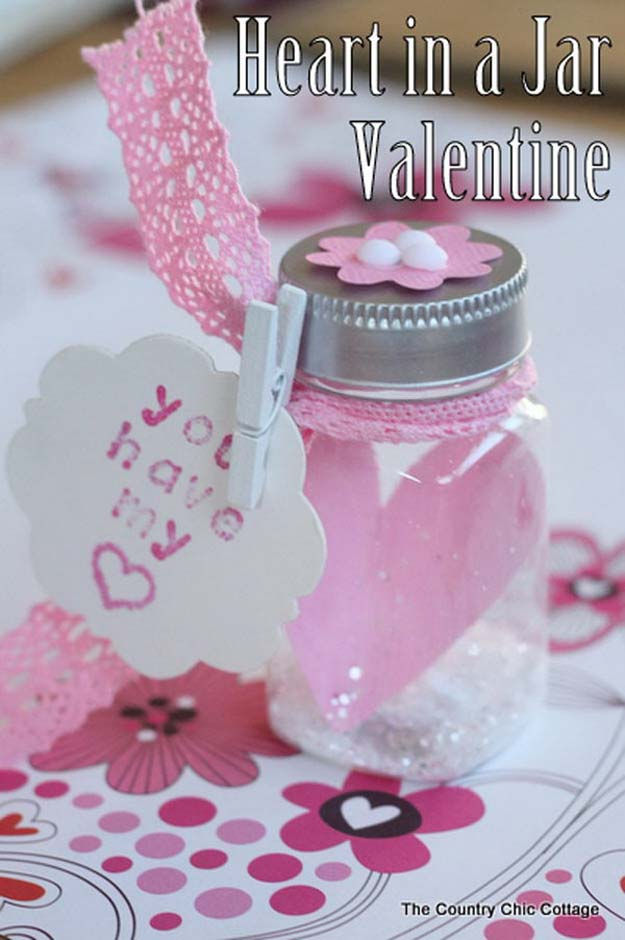 Best Mason Jar Valentine Crafts - Heart in a Jar Valentine - Cute Mason Jar Valentines Day Gifts and Crafts | Easy DIY Ideas for Valentines Day for Homemade Gift Giving and Room Decor | Creative Home Decor and Craft Projects for Teens, Teenagers, Kids and Adults http://diyprojectsforteens.com/mason-jar-valentine-crafts