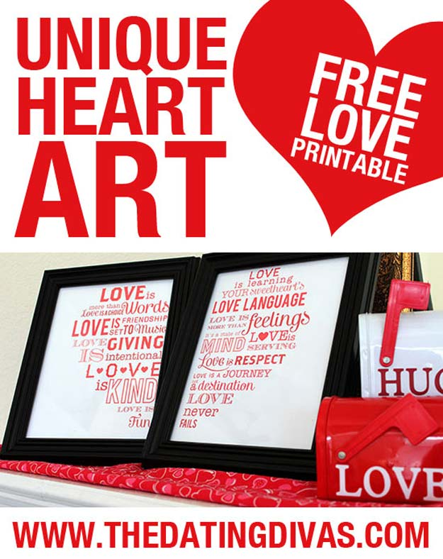 DIY Valentine Decor Ideas - Romantic Heart Art - Cute and Easy Home Decor Projects for Valentines Day Decorating - Best Homemade Valentine Decorations for Home, Tables and Party, Kids and Outdoor - Romantic Vintage Ideas - Cheap Dollar Store and Dollar Tree Crafts