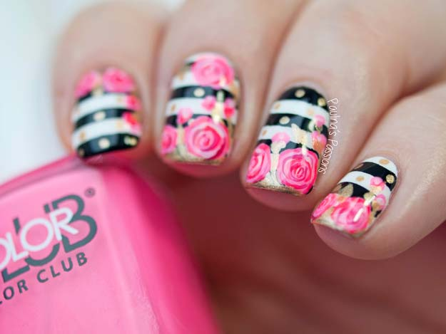 Valentine Nail Art Ideas - Valentine's Roses Nail Art Tutorial - Cute and Cool Looks For Valentines Day Nails - Hearts, Gradients, Red, Black and Pink Designs - Easy Ideas for DIY Manicures with Step by Step Tutorials - Fun Ideas for Teens, Teenagers and Women http://diyprojectsforteens.com/valentine-nail-art-ideas