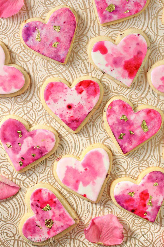 Best Valentines Cookies - Watercolor Rose Sugar Cookies - Easy Cookie Recipes and Recipe Ideas for Valentines Day - Cute DIY Decorated Cookies for Kids, Homemade Box Cookies and Bouquet Ideas - Sugar Cookie Icing Tutorials With Step by Step Instructions - Quick, Cheap Valentine Gift Ideas for Him and Her http://diyprojectsforteens.com/valentine-cookie-recipes