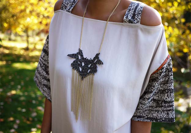 DIY Necklace Ideas - Sachin + Babi Rorschach Necklace - Pendant, Beads, Statement, Choker, Layered Boho, Chain and Simple Looks - Creative Jewlery Making Ideas for Women and Teens, Girls - Crafts and Cool Fashion Ideas for Teenagers