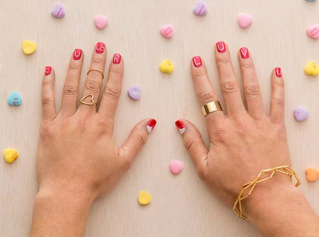 Valentine Nail Art Ideas - See You Later Nails - Cute and Cool Looks For Valentines Day Nails - Hearts, Gradients, Red, Black and Pink Designs - Easy Ideas for DIY Manicures with Step by Step Tutorials - Fun Ideas for Teens, Teenagers and Women http://diyprojectsforteens.com/valentine-nail-art-ideas