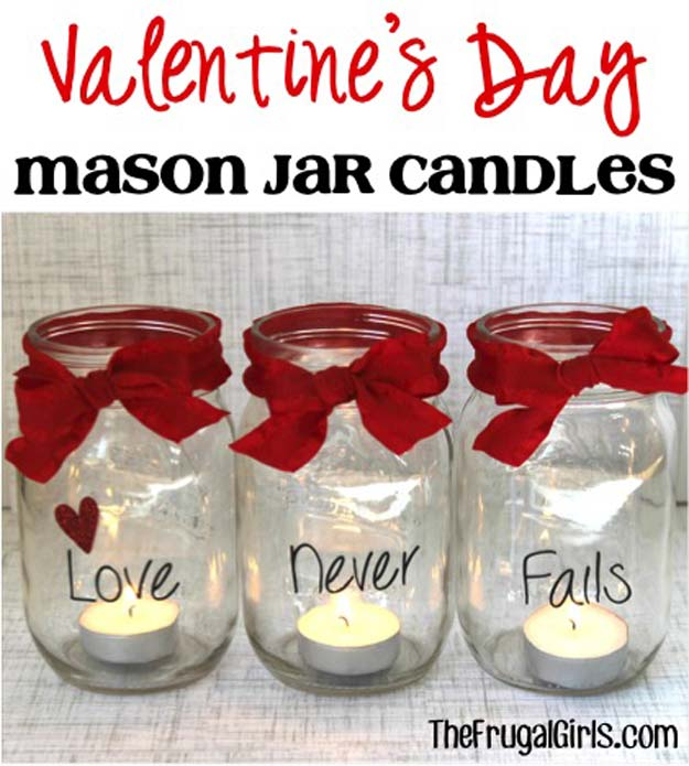 DIY Valentine Decor Ideas - Valentine's Day Mason Jar Candles - Cute and Easy Home Decor Projects for Valentines Day Decorating - Best Homemade Valentine Decorations for Home, Tables and Party, Kids and Outdoor - Romantic Vintage Ideas - Cheap Dollar Store and Dollar Tree Crafts