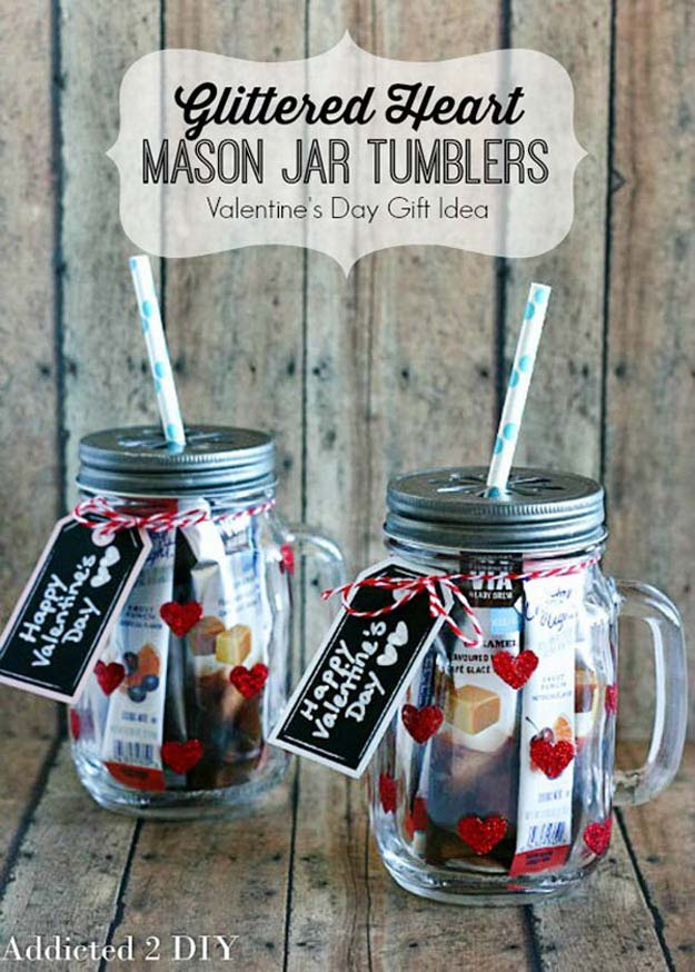 Best Mason Jar Valentine Crafts - Glittered Heart Mason Jar Tumblers - Cute Mason Jar Valentines Day Gifts and Crafts | Easy DIY Ideas for Valentines Day for Homemade Gift Giving and Room Decor | Creative Home Decor and Craft Projects for Teens, Teenagers, Kids and Adults http://diyprojectsforteens.com/mason-jar-valentine-crafts