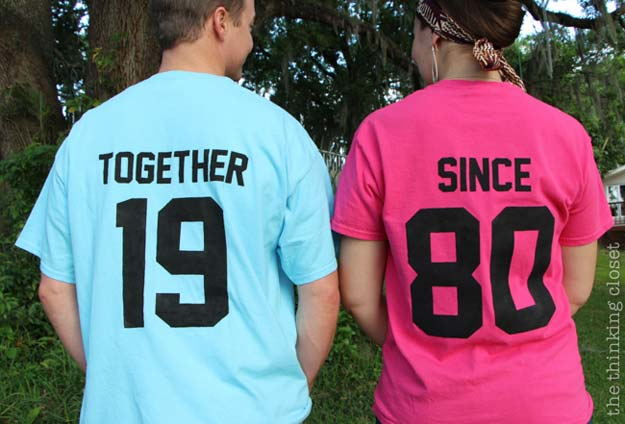 "DIY Valentine Gifts - ""Together Since"" T-Shirt - Gifts for Her and Him, Teens, Teenagers and Tweens - Mason Jar Ideas, Homemade Cards, Cheap and Easy Gift Ideas for Valentine Presents http://diyprojectsforteens.com/diy-valentine-gifts"